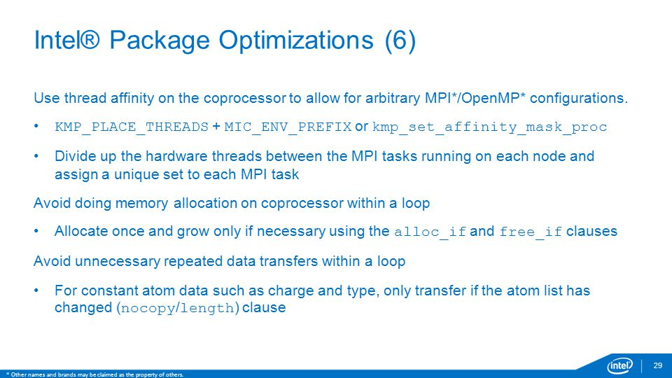 Intel® Package Optimizations (6)