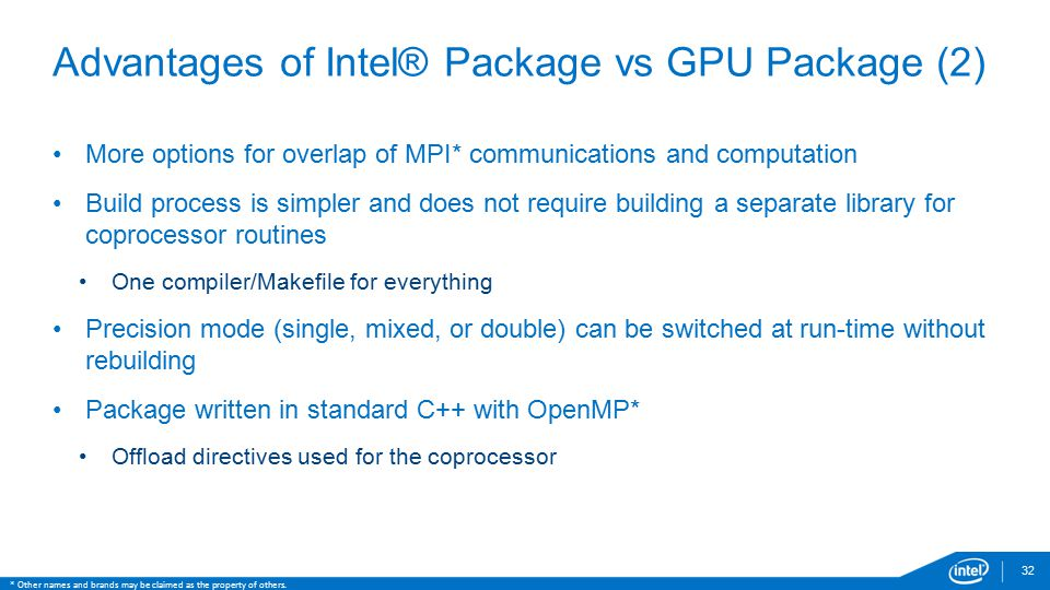 Advantages of Intel® Package vs GPU Package (2)