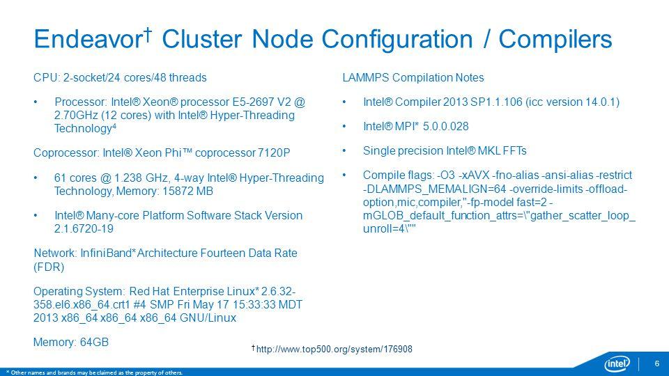 Endeavor† Cluster Node Configuration / Compilers