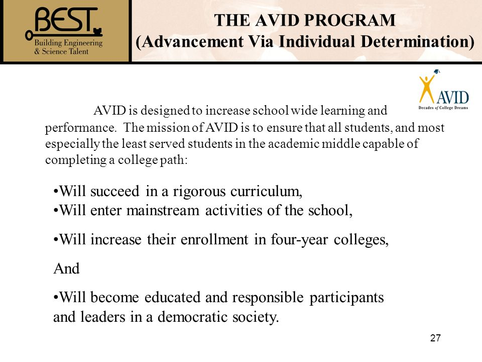 THE AVID PROGRAM (Advancement Via Individual Determination)