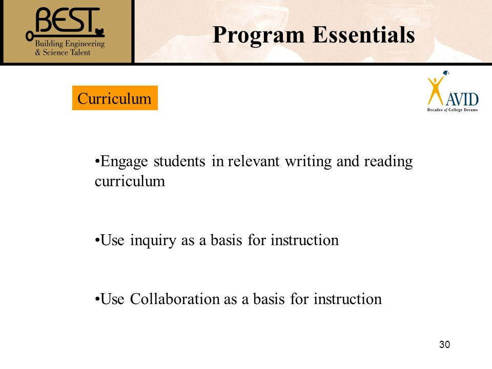 Program Essentials Curriculum