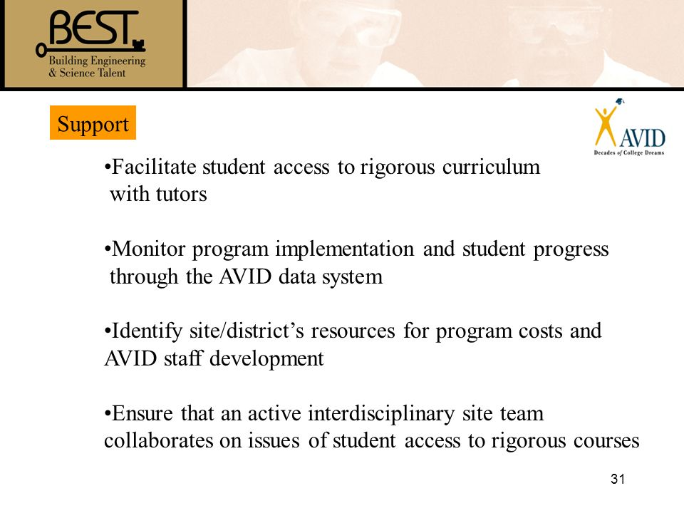 Support Facilitate student access to rigorous curriculum. with tutors. Monitor program implementation and student progress.