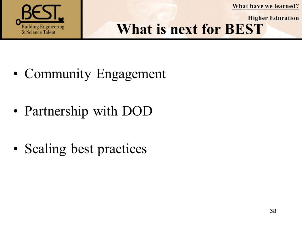 What is next for BEST Community Engagement Partnership with DOD
