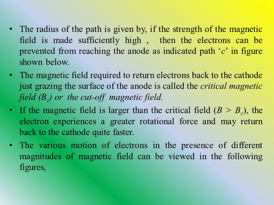 The radius of the path is given by, if the strength of the magnetic field is made sufficiently high , then the electrons can be prevented from reaching the anode as indicated path 'c' in figure shown below.