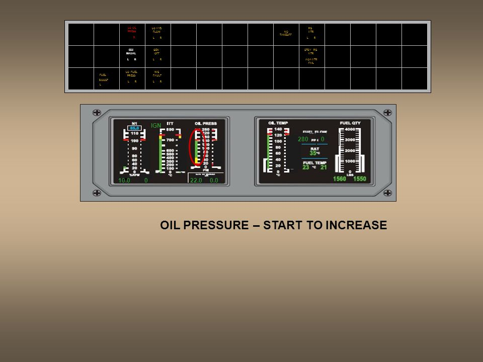 OIL PRESSURE – START TO INCREASE
