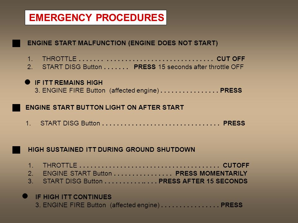 EMERGENCY PROCEDURES ENGINE START MALFUNCTION (ENGINE DOES NOT START)