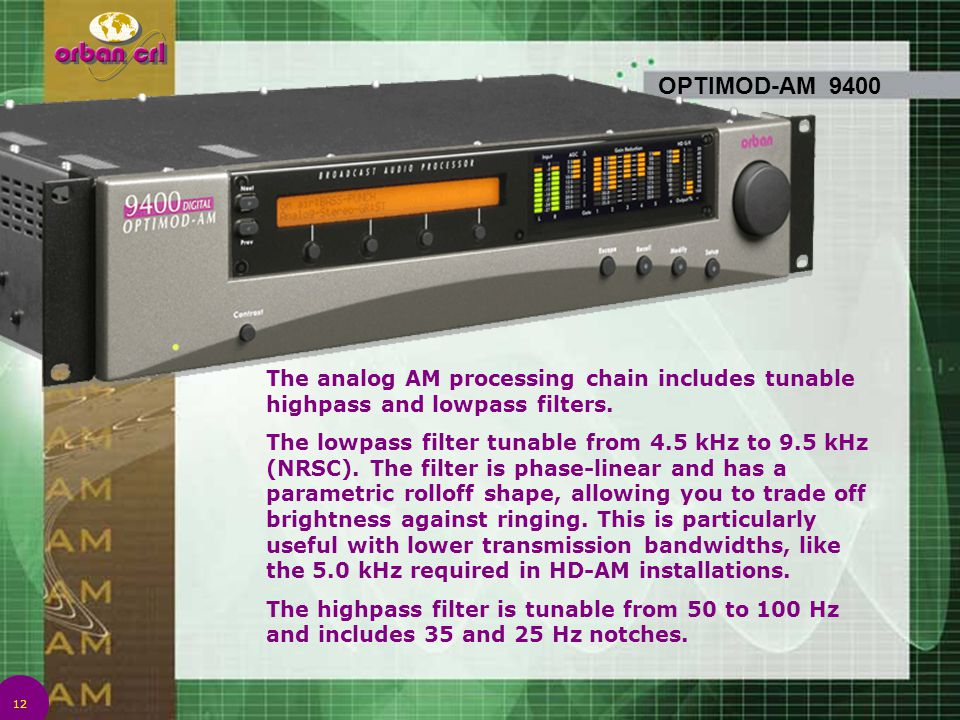 4/14/2017 7:01 PM OPTIMOD-AM 9400. The analog AM processing chain includes tunable highpass and lowpass filters.