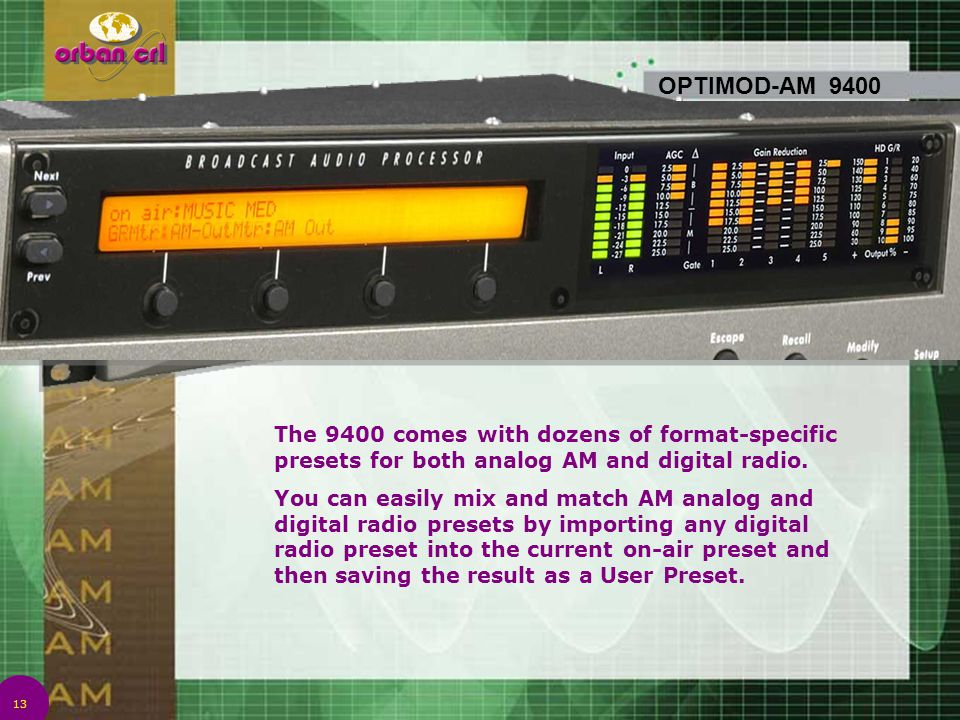 4/14/2017 7:01 PM OPTIMOD-AM 9400. The 9400 comes with dozens of format-specific presets for both analog AM and digital radio.