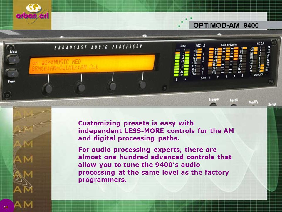 4/14/2017 7:01 PM OPTIMOD-AM 9400. Customizing presets is easy with independent LESS-MORE controls for the AM and digital processing paths.
