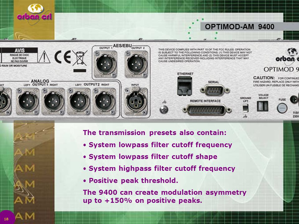 OPTIMOD-AM 9400 The transmission presets also contain: