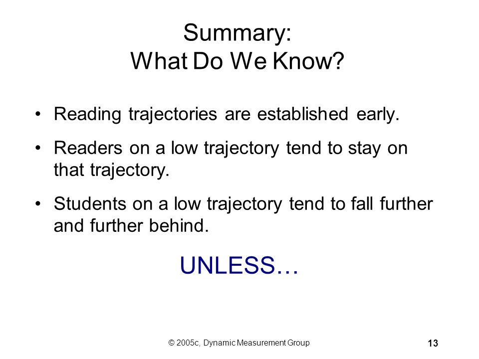 Summary: What Do We Know