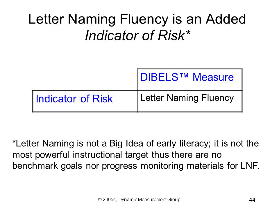 Letter Naming Fluency is an Added Indicator of Risk*