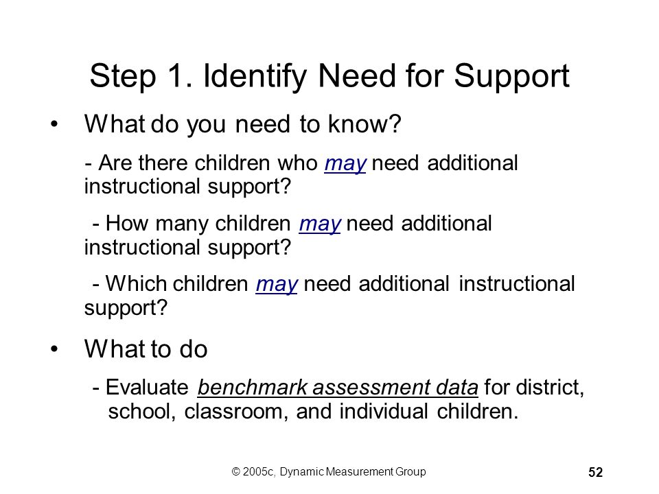 Step 1. Identify Need for Support