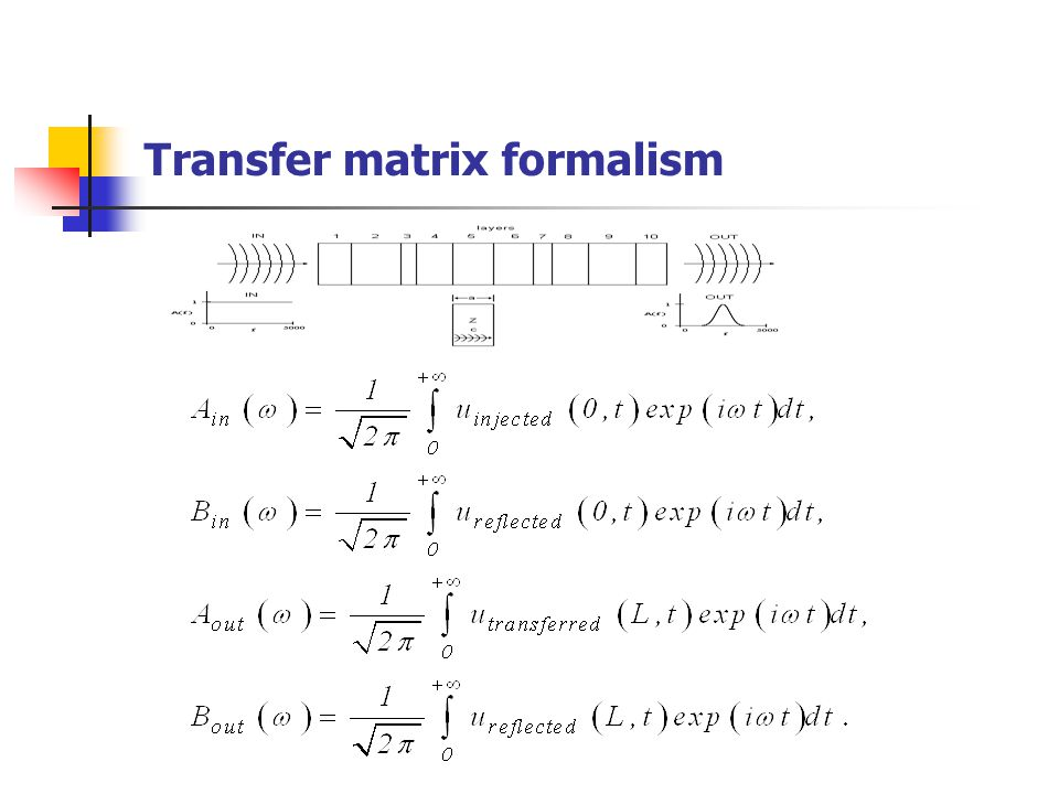 Transfer matrix formalism