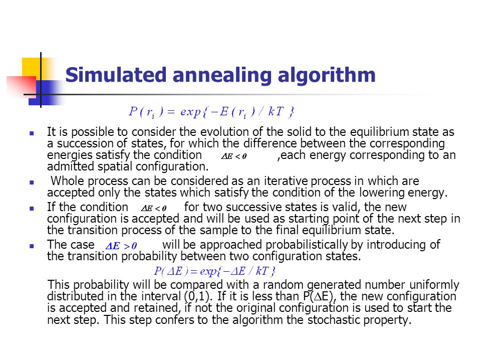 Simulated annealing algorithm