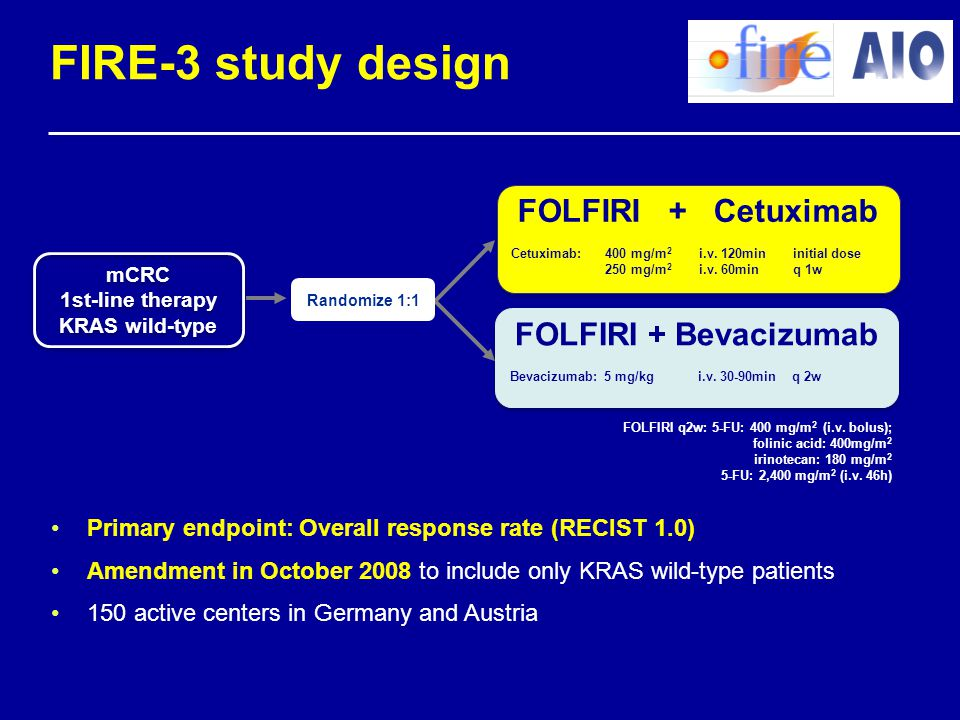 FIRE-3 study design FOLFIRI + Cetuximab FOLFIRI + Bevacizumab