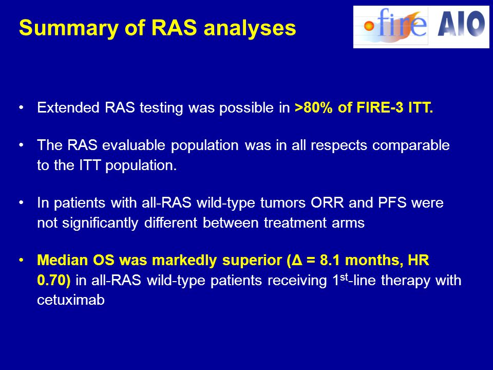Summary of RAS analyses