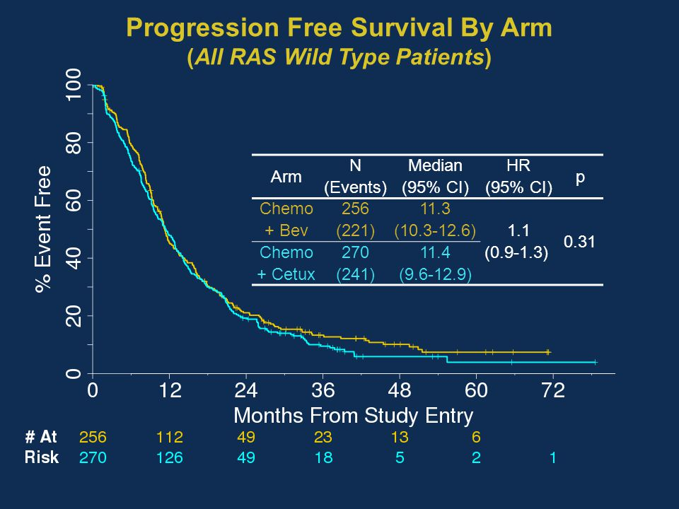 Progression Free Survival By Arm (All RAS Wild Type Patients)