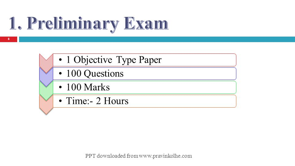 1. Preliminary Exam 1 Objective Type Paper 100 Questions 100 Marks