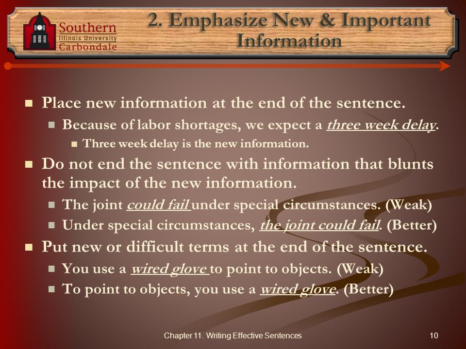 2. Emphasize New & Important Information