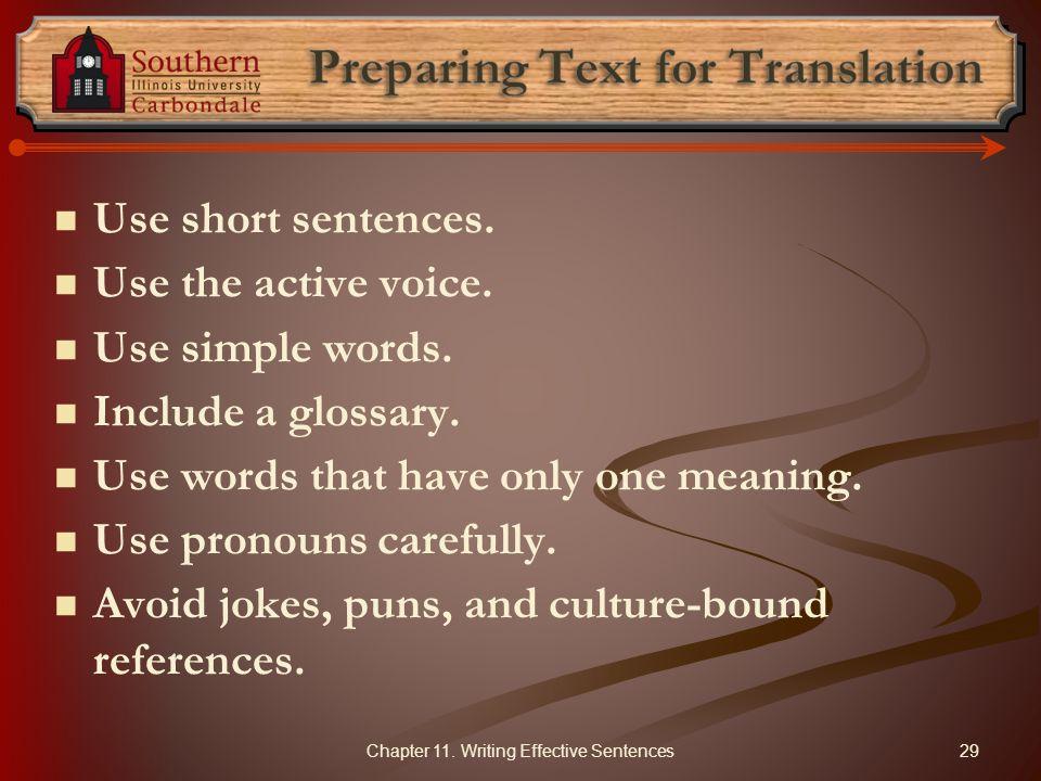 Preparing Text for Translation