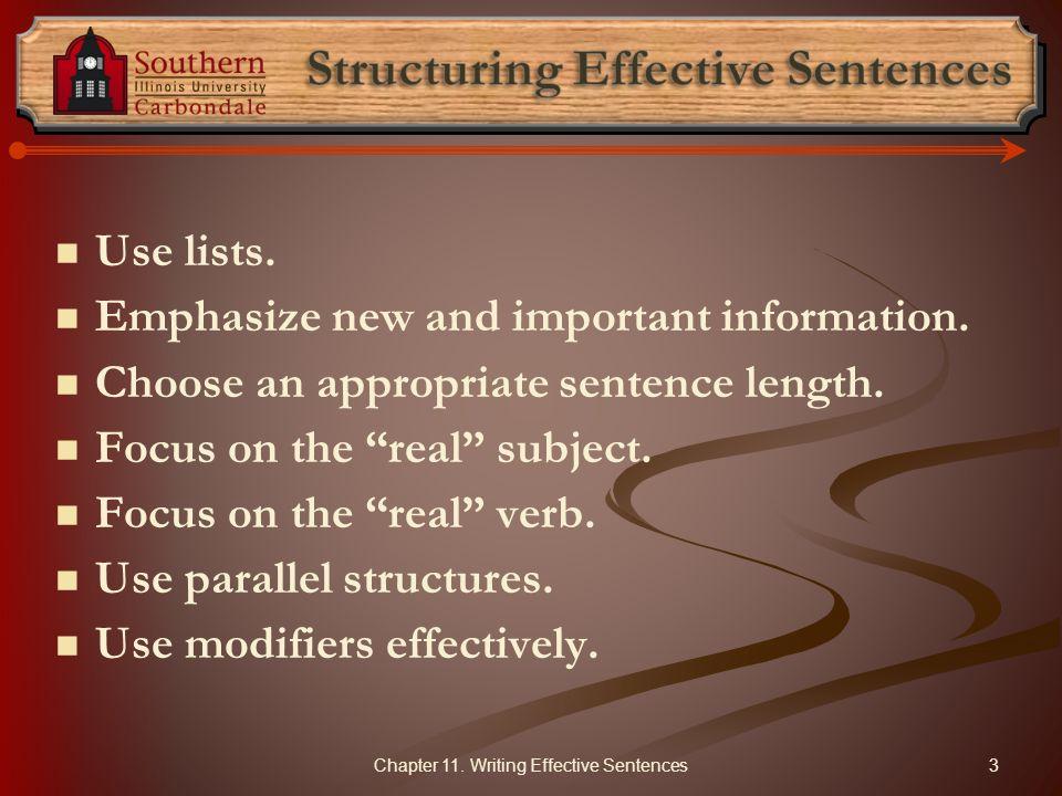 Structuring Effective Sentences