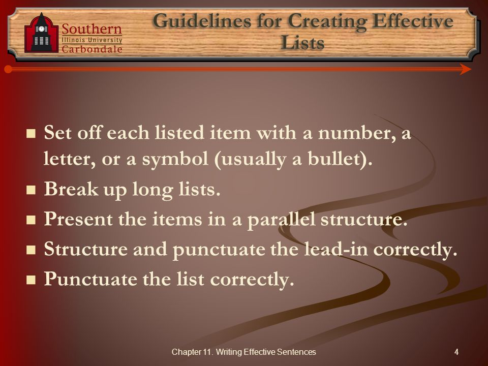 Guidelines for Creating Effective Lists