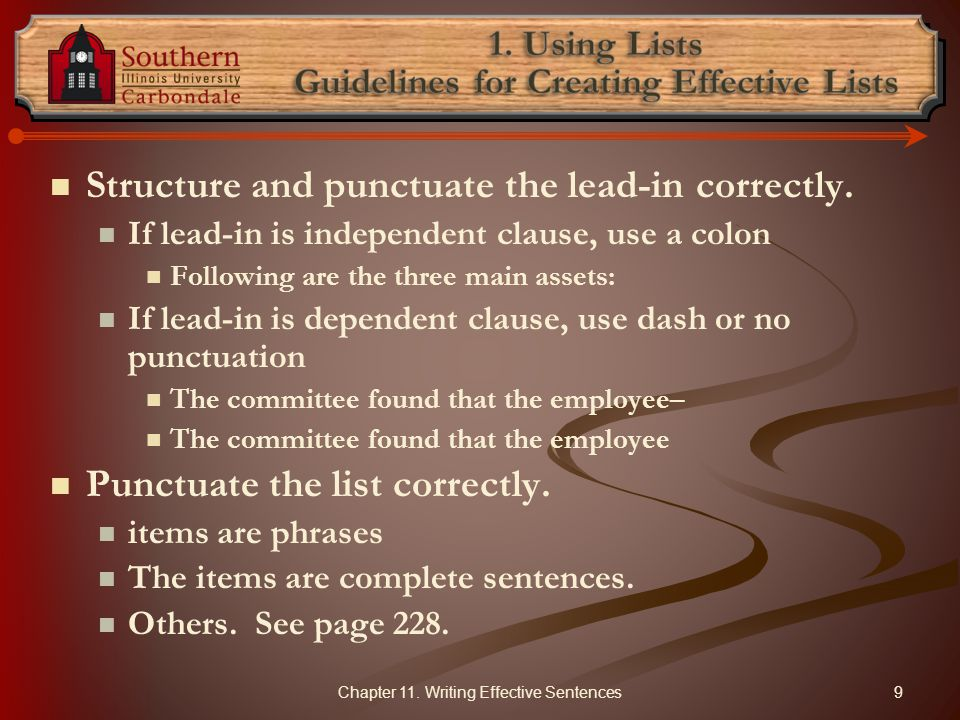 1. Using Lists Guidelines for Creating Effective Lists
