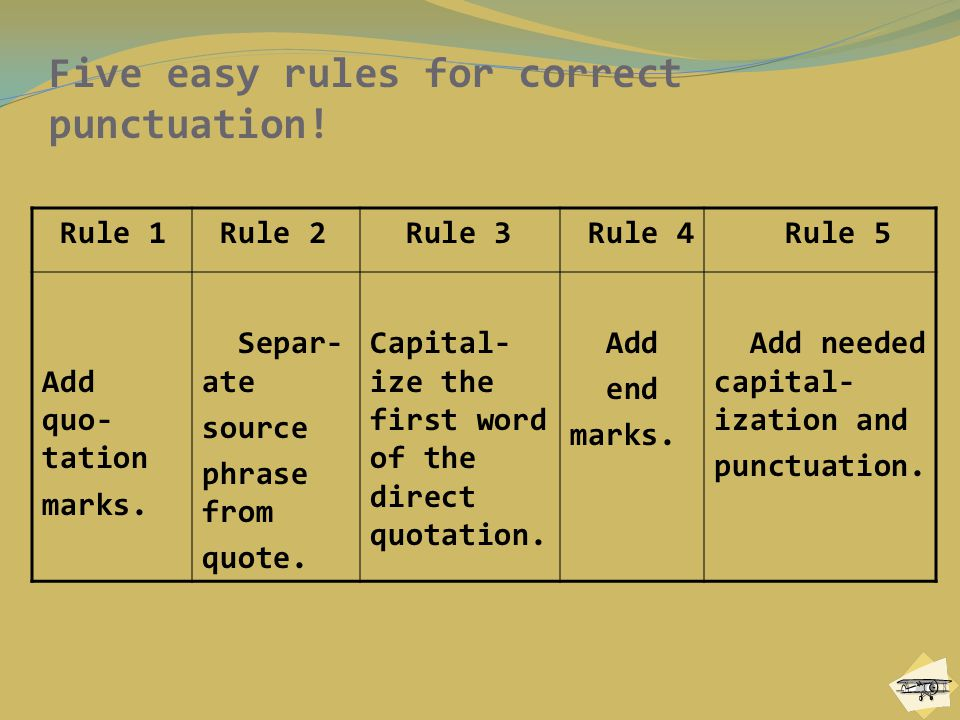 Five easy rules for correct punctuation!