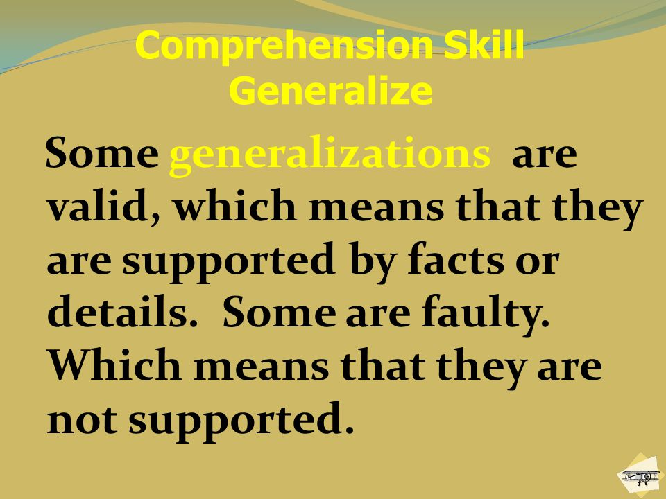 Comprehension Skill Generalize