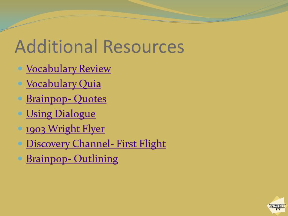 Additional Resources Vocabulary Review Vocabulary Quia