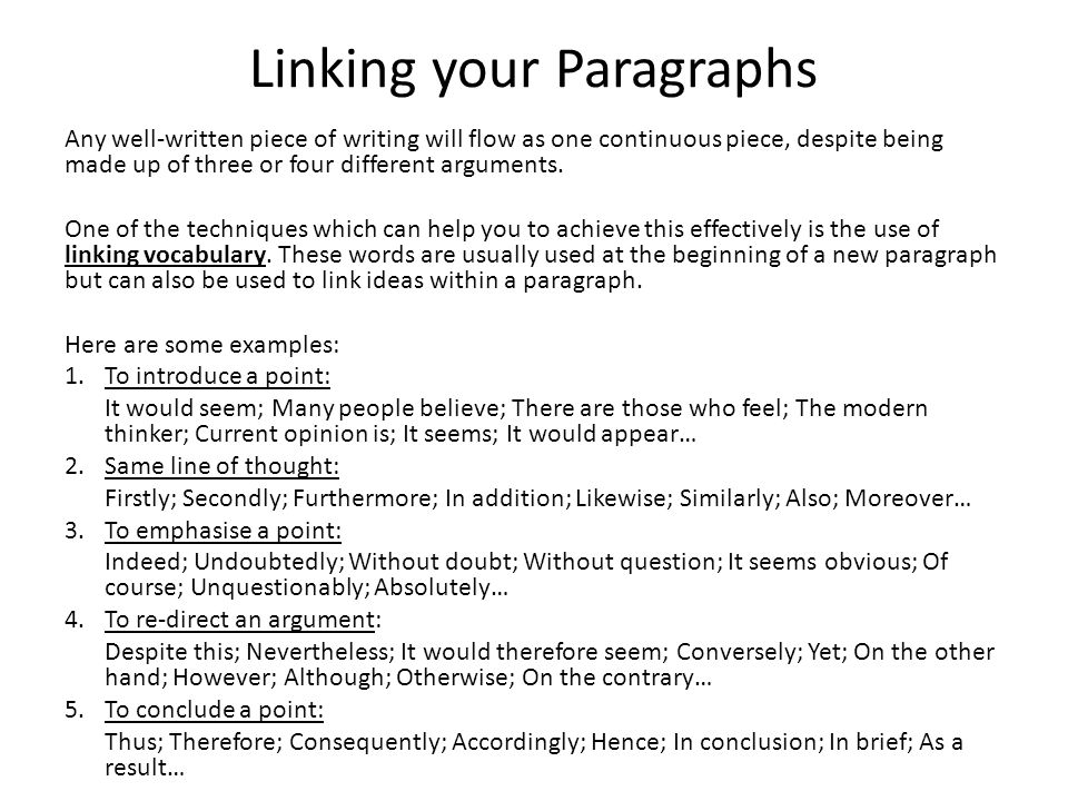 Linking your Paragraphs