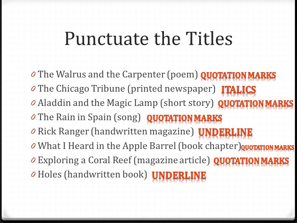 Punctuate the Titles The Walrus and the Carpenter (poem)