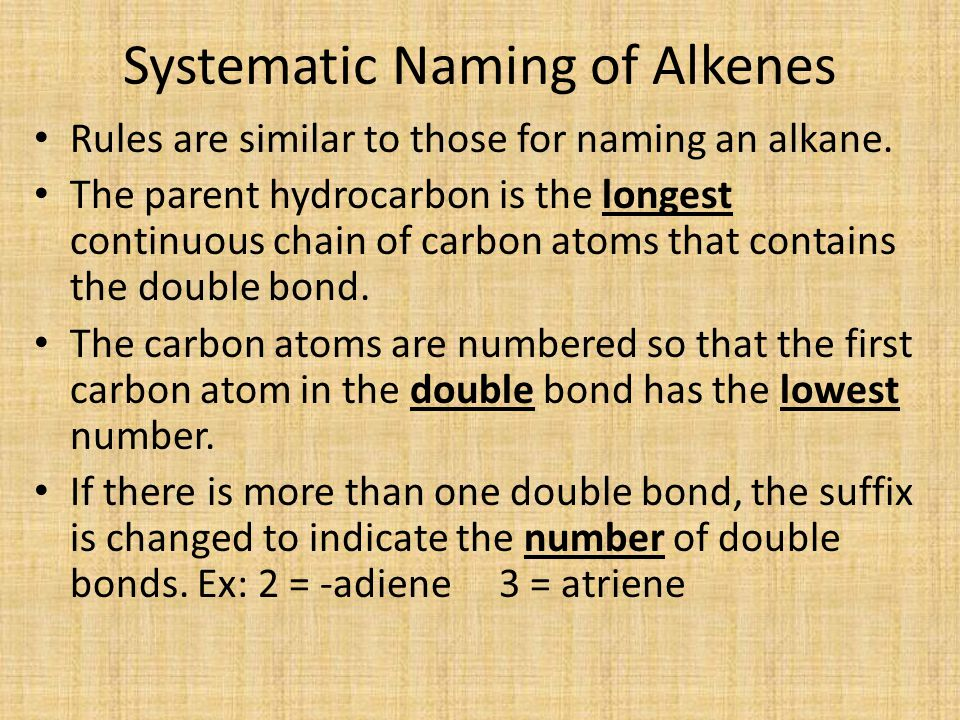 Systematic Naming of Alkenes