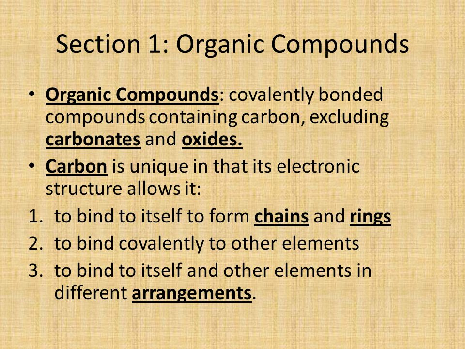 Section 1: Organic Compounds