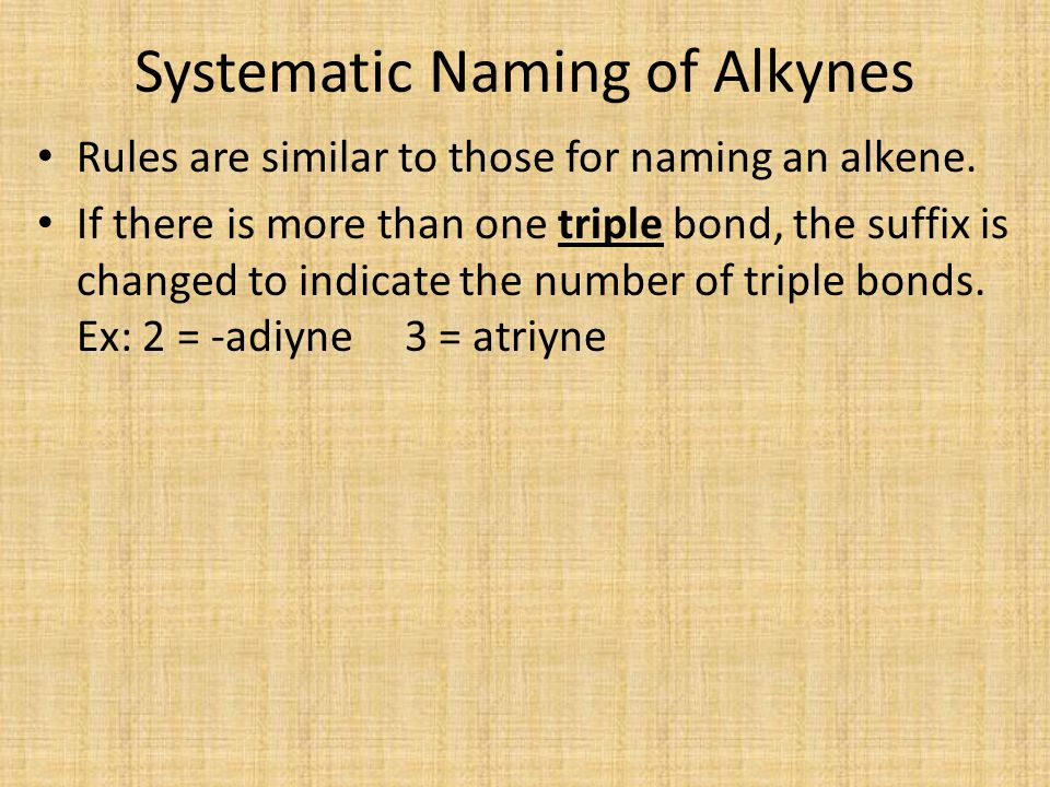 Systematic Naming of Alkynes