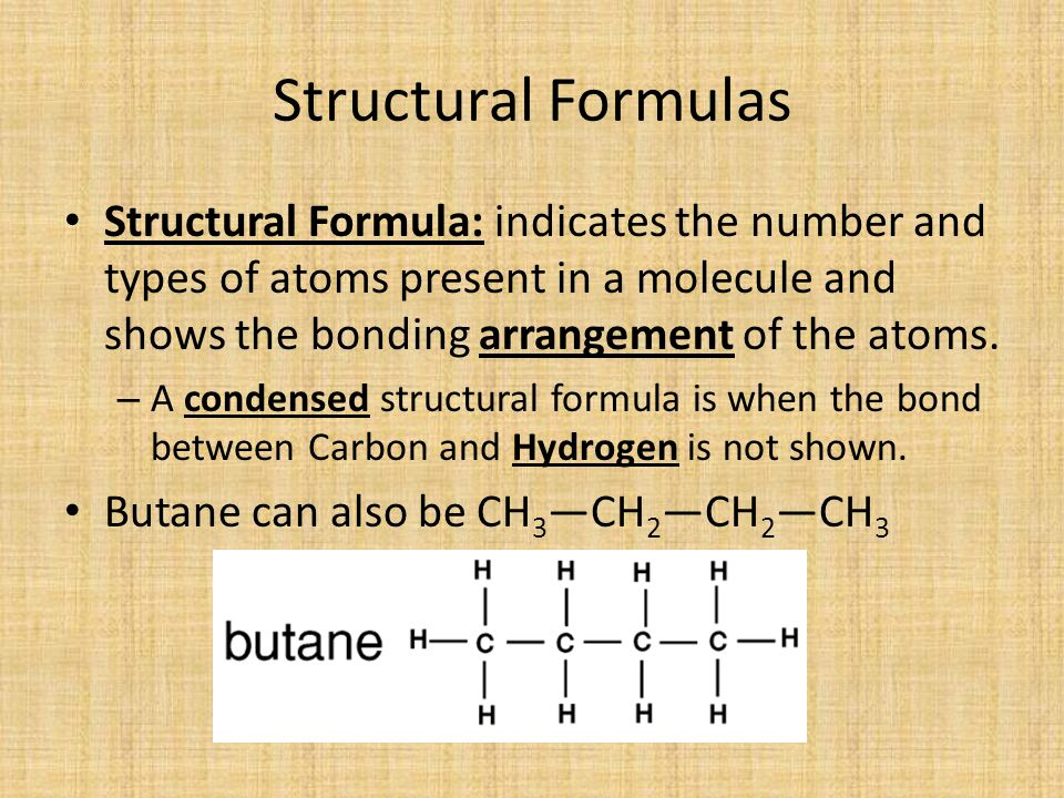 Structural Formulas Structural Formula: indicates the number and types of atoms present in a molecule and shows the bonding arrangement of the atoms.