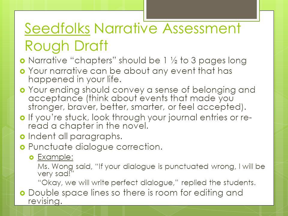 Seedfolks Narrative Assessment Rough Draft