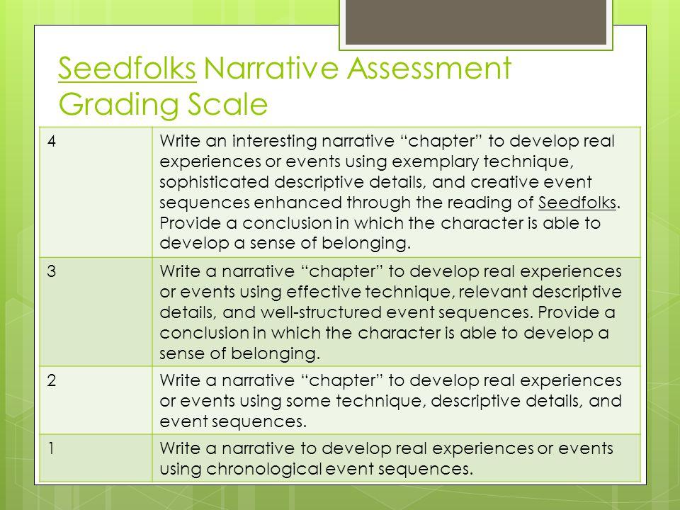 Seedfolks Narrative Assessment Grading Scale