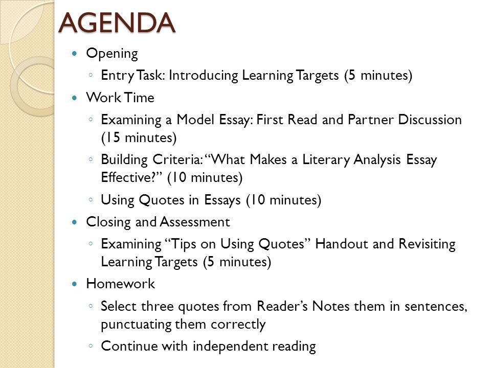 AGENDA Opening Entry Task: Introducing Learning Targets (5 minutes)
