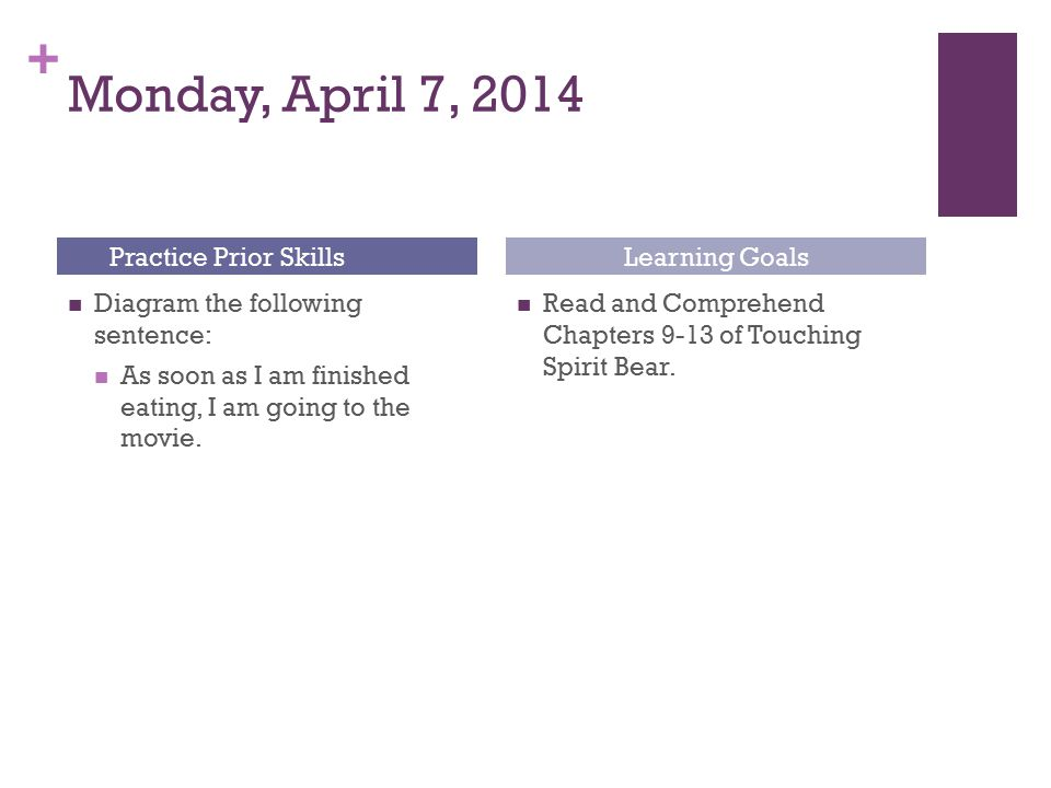 Monday, April 7, 2014 Practice Prior Skills Learning Goals