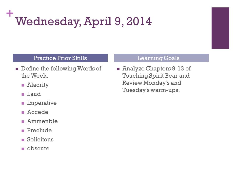 Wednesday, April 9, 2014 Practice Prior Skills Learning Goals
