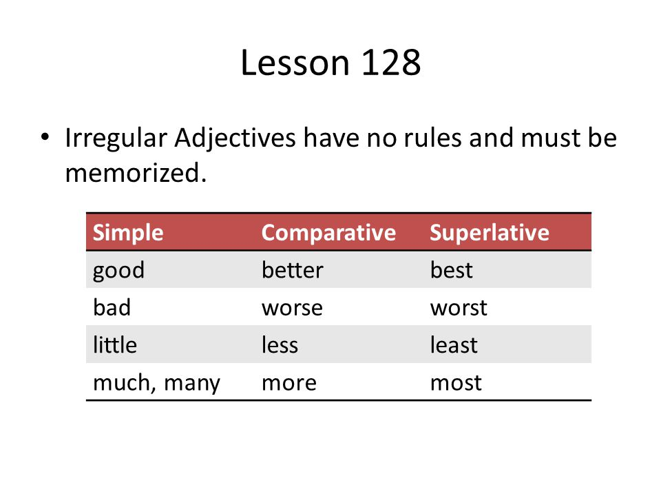 Lesson 128 Irregular Adjectives have no rules and must be memorized.