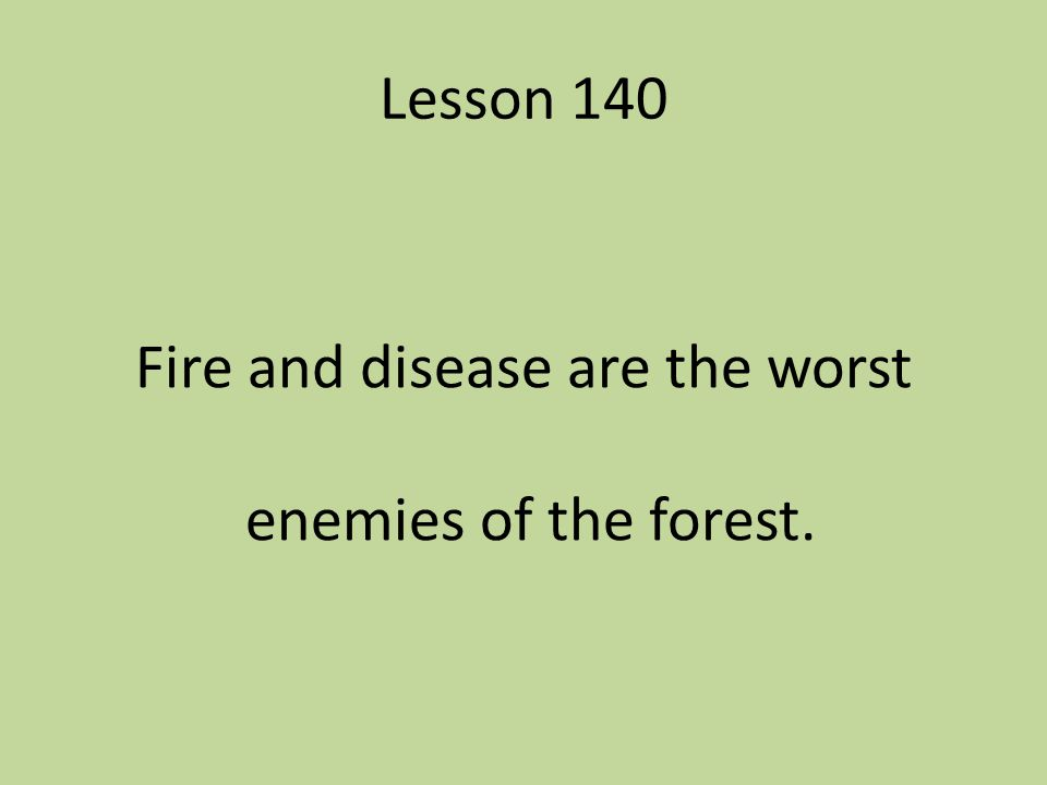 Fire and disease are the worst enemies of the forest.