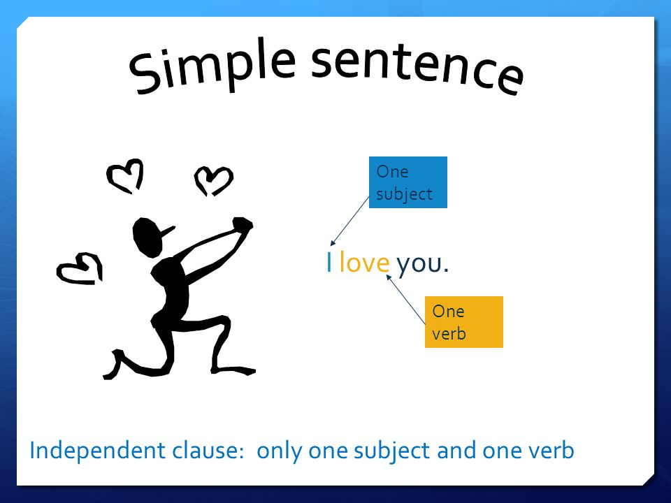 I love you. Simple sentence