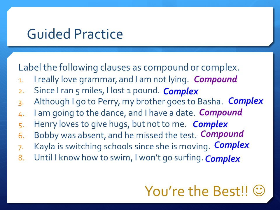 You're the Best!!  Guided Practice
