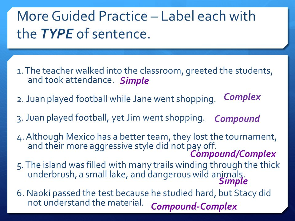 More Guided Practice – Label each with the TYPE of sentence.