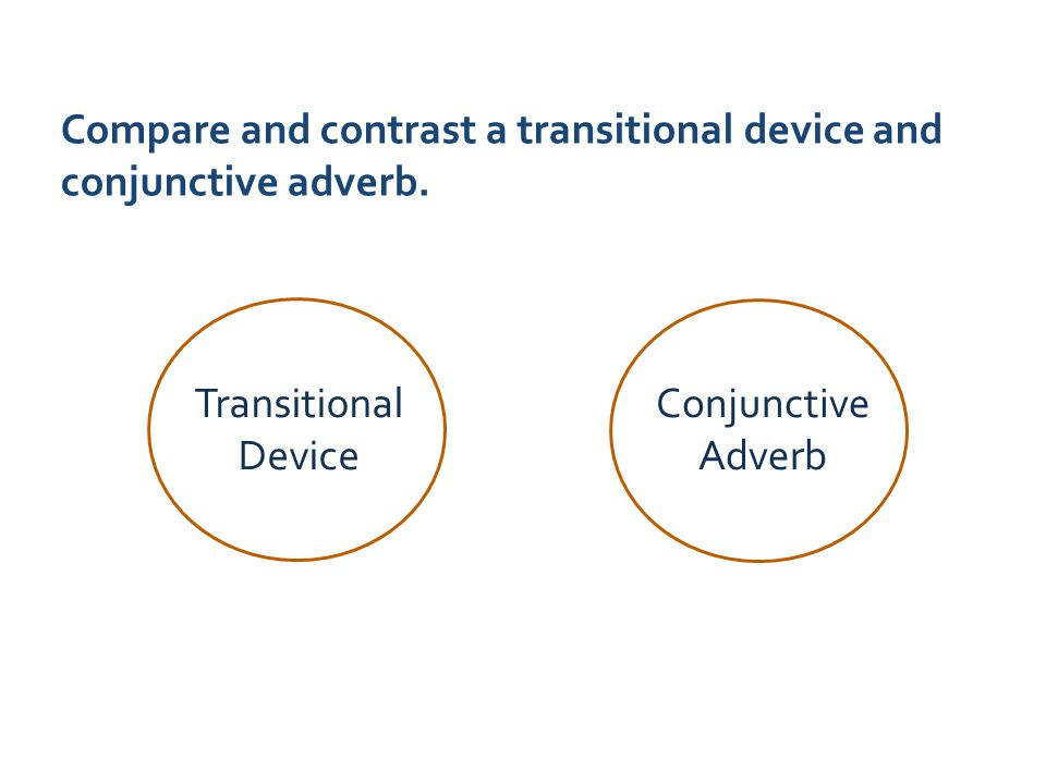 Compare and contrast a transitional device and conjunctive adverb.