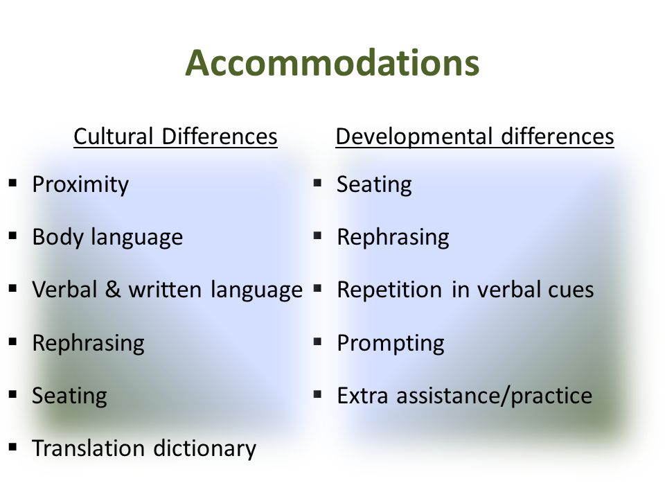 Accommodations Cultural Differences Proximity Body language