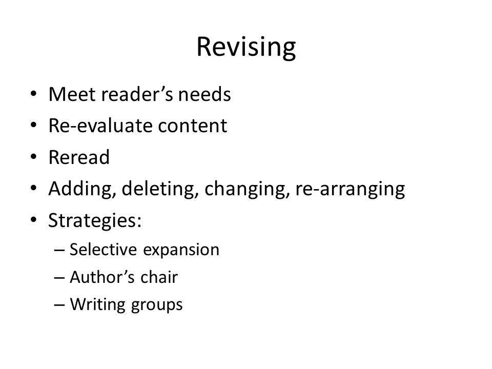 Revising Meet reader's needs Re-evaluate content Reread